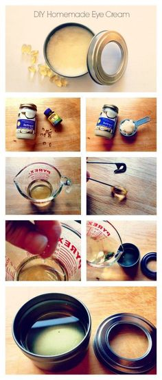 This the best DIY homemade eye cream ever! Two ingredients that are gentle, but very effective. And you'll see results in two weeks. 1/2 cup Organic coconut oil 6-8 Vitamin E capsules