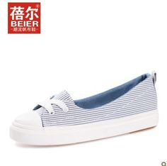 Find More Women's Fashion Sneakers Information about Beier 2013 new shallow  mouth canvas shoes, women's shoes Xia Jiqing low to help striped shoes flat  ...