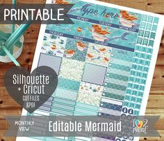Editable Mermaid Monthly View Printable Planner by ilove2print