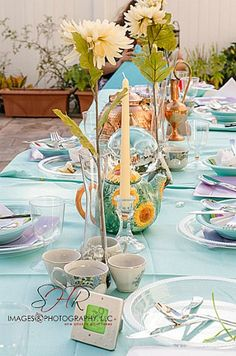 Table setting for an Alice in Wonderland bridal shower. http://www.creative-theme-wedding-ideas.com/alice-in-wonderland-bridal-shower.html