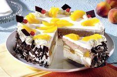 Tort cu piersici şi ciocolată