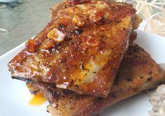 Vajpuha fokhagymás sült oldalas recept foto Hungarian Recipes, Raw Vegan, Lasagna, Bacon, Bbq, Stuffed Mushrooms, Pork, Food And Drink, Veggies