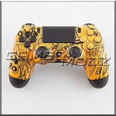 Yellow Kooky Skulls PS4 Custom Modded Controller