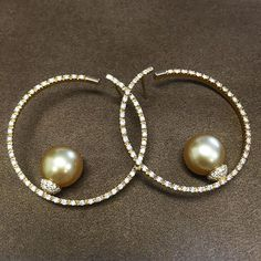 18k yellow gold with diamonds and gold south sea pearls | #autore #autorepearls…