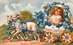 """A Happy Easter"" girl in egg shell carriage drawn by sheep"