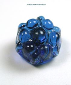 Antique Charmstring Glass Button Blue Candy Mold Swirl Back/Circa: 1840-1860