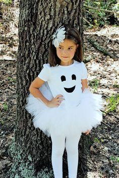Friendly Ghost Girl Tutu And Shirt/Baby Bodysuit Set - Halloween Ghost Costume Costume Halloween, Ghost Halloween Costume, Ghost Costumes, Homemade Halloween Costumes, Cute Costumes, Cute Halloween, Baby Costumes, Devil Costume, Costume Ideas