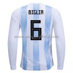 Fodboldtrøjer VM 2018 Argentina Lucas Biglia 6 Hjemmebanetrøjer Langærmede