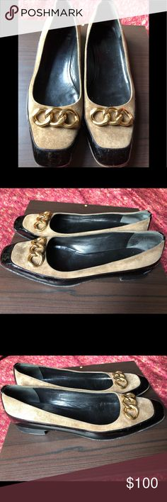 095a9116ff6a ❤️Balenciaga Patent Leather Suede Flats size 39.5 Gorgeous suede and patent  leather shoes with gold