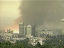 The Salt Lake City Tornado of 1999 as it rips through downtown; the orange fireball is a power substation exploding upon contact with the tornado. Salt Lake Temple, Salt Lake City Utah, Angel Moroni, Meridian Magazine, Temple Square, Doctrine And Covenants, Lds Church, Tornadoes, Slc