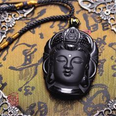 Obsidian Natural Volcanic Lava Buddha Necklace And Pendant