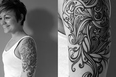 Curvy lines tattoo pattern