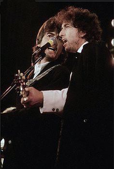 George Harrison and Bob Dylan. Beatles Songs, The Beatles, Bob Dylan, Beverly Hills, John Lennon Paul Mccartney, Liverpool, Travelling Wilburys, Travel Music, Tom Petty