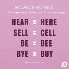 #pronunciationtips Have you noticed that these words have exactly the same pronunciation? They're called homophones! Can you tell us the differences in meaning? Write it in the comments! . . . . @discoverenglish #pronunciation #englishtime #learnenglish #moreenglish #englishtips #pronunciationtips #tips #english #generalenglish #sounds #quicklesson #learning #freeenglish #discovermore #discoverenglish