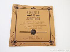 Wedding invitation on paper - http://www.classicweddinginvitations.com.au/art-deco-glamour-wedding-invitation/ - From $4.00