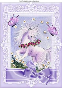 Sweet little unicorn with flowers and lilac bow A4 on Craftsuprint - Add To Basket!