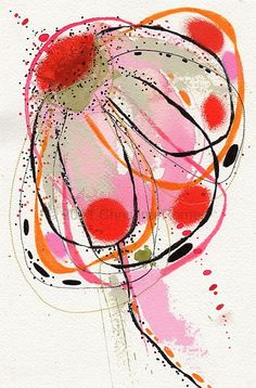 Original Abstract Painting A Watercolor Flower by ChristinaRomeo, $42.00