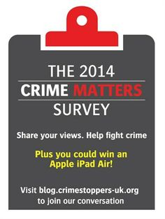 Crime Matters - our week long conversation about crime issue that matter to you. The blog from this week will continue to be used to support our work and campaigns.