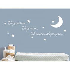Muursticker - Muurtekst Dag sterren, dag maan Wall Quotes, Girl Room, Wall Decals, Projects To Try, Sleep Room, Children, Creative, Poster, Twins