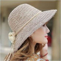 Elegant bucket hat with flower for women UV protection straw sun hats