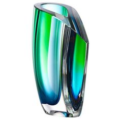 Kosta Boda - Mirage Green & Blue Tall Vase | Peter's of Kensington