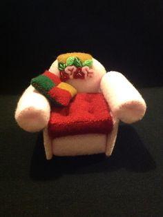 Handmade felt armchair pincushion