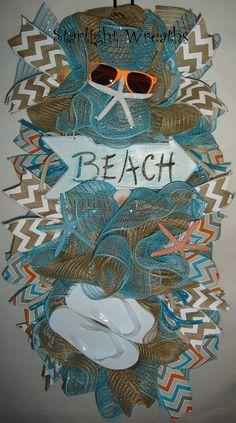 Beach Arrow Burlap and Mesh Swag/Wreath Beachy by StarlightWreaths