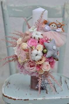 Baby Shower Decorations, Flower Decorations, Candle Decorations, Church Flowers, Point Lace, Babys, Bouquet, Paper Crafts, Easter
