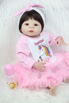 d5badfd7f 55cm Full Body Silicone Reborn Baby Girl Toy 22inch Newborn Baby Princess  Toddler Doll With Unicorn Dress Lovely Birthday Gift