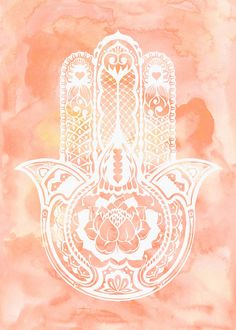 Watercolor Hamsa Hand, Lotus and Be Here Now Art Printable files, available immediately after purchase, Print-it-yourself!  NO PHYSICAL PRINT