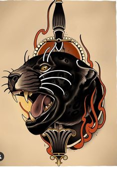 Traditional Panther Tattoo, Traditional Tattoo Old School, Traditional Tattoo Design, Old Tattoos, Black Tattoos, Body Art Tattoos, Tattoos For Guys, Doodle Tattoo, Tiger Tattoo