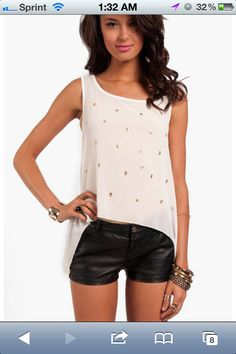#skulls outfit with leather shorts