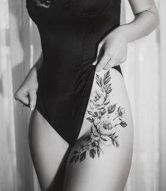 Hip Thigh Tattoos, Floral Thigh Tattoos, Hip Tattoos Women, Flower Hip Tattoos, Side Thigh Tattoos Women, Side Hip Tattoos, Female Back Tattoos, Tattoo Women, Side Leg Tattoo