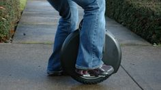 Solowheel self-balancing electric unicycle has a top speed of 12 mph and a 12 mile range.  It is operated much the same way as the Segway.  Put a your feet on the platforms on either side and lean forward and you are off.