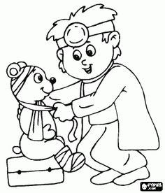 Doctor Hospital Coloring For Kids Preschool Coloring Pages, Coloring Book Pages, Coloring Pages For Kids, Preschool Crafts, Kids Coloring, Doctor For Kids, House Mouse Stamps, Playing Doctor, Bear Theme