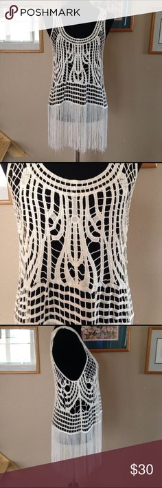 Fringe crochet tank Double zero fringe crochet tank from the buckle. Worn once, great condition although there is one spot. Could probably be scrubbed off. Double Zero Tops Tank Tops