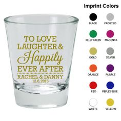 Wedding Shot Glasses Clipart 1833 Love Laughter by MyWeddingStore