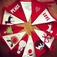 Bespoke Christmas Bunting Christmas Crafts To Make, Christmas Sewing Projects, Christmas Items, Handmade Christmas, Christmas Wreaths, Felt Bunting, Bunting Flags, Buntings, Christmas Bunting