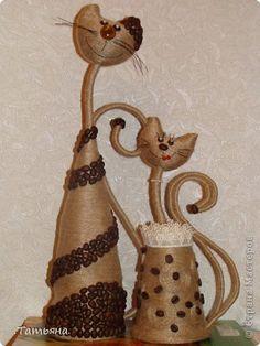 Поделка, изделие Моделирование: кофейные кошки Бусинки, Кофе, Проволока, Шпагат.