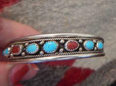 Navajo turquoise bracelet sterling silver coral bracelet Native American jewelry  Cherokee southwest jewelry by CherokeeKachinaCasey on Etsy
