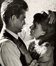 "James Dean & Julie Harris in ' East of Eden''----> ""I'm one of two women to kiss Jimmy Dean in a movie. Vintage Hollywood, Classic Hollywood, A L'est D'eden, James Dean Photos, Jimmy Dean, East Of Eden, Julie, Hollywood Actor, Hollywood Actresses"