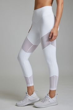 d2a80675ee NATURAL FORCES 3/4 LEGGING White Leggings, Mesh Panel, Workout Leggings,  Outfit