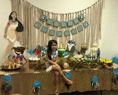 Sophia and her cake table my best friend (Her mom) made all the crafts cake and treats her daughters pocahontas party Pocahontas Birthday Party, Disney Princess Party, Disney Birthday, Princess Birthday, Baby Girl 1st Birthday, Bday Girl, 1st Birthday Parties, Birthday Party Decorations, Birthday Ideas