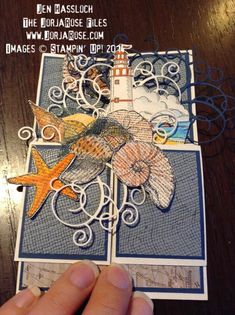 """By Jen Hassloch for """"The JorjaRose Files"""", Card In A Box – Nautical Style, featuring Stampin' Up! stamp sets """"By The Tide"""", """"By The Seashore"""" and vintage """"Lighthouse"""" ,,,"""