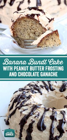 Banana Bundt Cake with Peanut Butter Frosting and Chocolate Ganache Delectable and delicious this pretty cake will surprise you with it s fantastic flavor combination Easy No Bake Desserts, Delicious Desserts, Chocolate Ganache, Chocolate Oatmeal, Chocolate Heaven, Chocolate Cakes, Banana Bundt Cake, Surprise Cake, Small Baking Dish