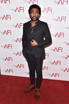 Donald Glover, Thom Sweeney suit, Jimmy Choo shoes. At the 17th annual AFI Awards in Los Angeles. January 6, 2017  WHY: Because if anyone could make a three-piece suit look fresh as f@#k, it's Mr. Glover.