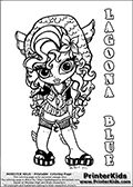 Coloring page with Lagoona Blue from Monster High. This printable colouring sheet show a cute baby or chibi version of Lagoona Blue in a frontal pose. The Lagoona Blue Monster High Baby colouring page is drawn by JadeDragonne ( http://jadedragonne.deviantart.com/ ) and made available for use with credit! Lagoona Blue from Monster High is a mermaid monster humanoid character. The printable page has a colorable LAGOONA BLUE text that is shown in all upper case letters next to the cute…