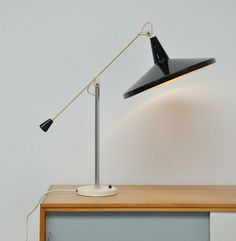 Wim Rietveld; Enameled Metal 'Panama' Table Light for Gispen, c1955.