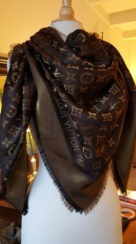 Louis Vuitton LOUIS VUITTON Shawl Scarf Chocolate Bronze Gold Monogram