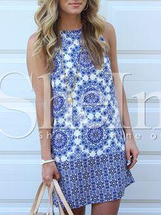 ärmelloses Kleid mit Vintage Druck-blau und weiß 20.23